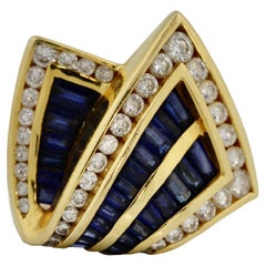 Charles Krypell 18K Gold, Sapphire and Diamond Ring