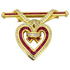 Charles Krypell 18KT Gold 6.17 Carat Ruby, 2.67 Carat Diamond Pendant /Brooch