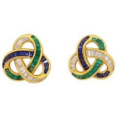 Charles Krypell 18KT Gold, Baguette Diamond Emerald & Sapphire Knot Clip Earring