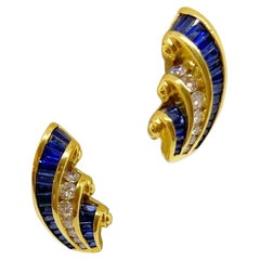 Charles Krypell 18KT Gold Earrings 2.63 Carat Blue Sapphires and 0.74Ct. Diamond