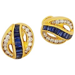 Charles Krypell 18KT Yellow Gold 2.30 Carat Sapphire and 1.16ct Diamond Earrings