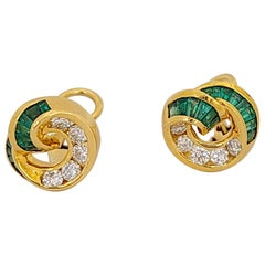 Charles Krypell 18KT Yellow Gold Earrings with 1.01Ct. Emeralds & .68Ct Diamonds