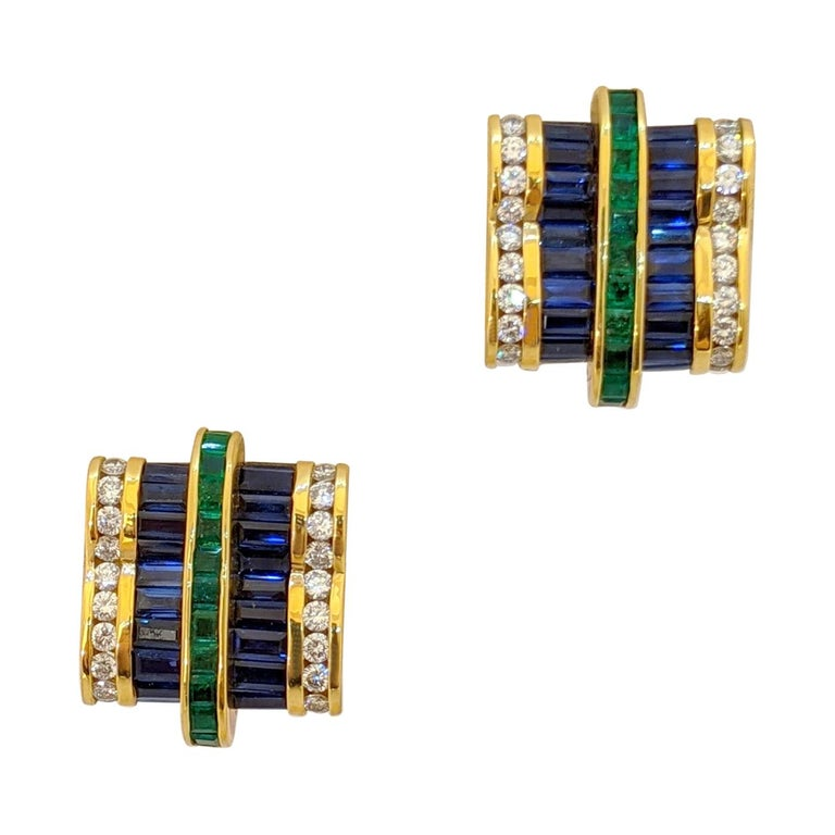 Charles Krypell 18Kt YG Invisibly Set Diamond, Blue Sapphire & Emerald Earrings For Sale