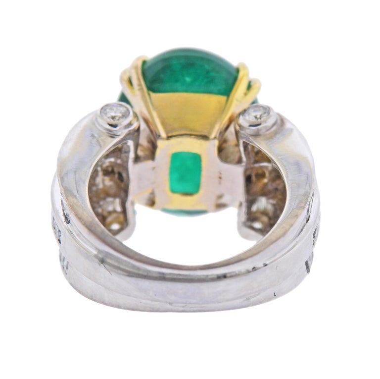 Cabochon Charles Krypell 20 Carat Emerald Diamond Gold Ring For Sale