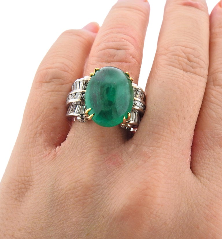 Charles Krypell 20 Carat Emerald Diamond Gold Ring In Excellent Condition For Sale In New York, NY