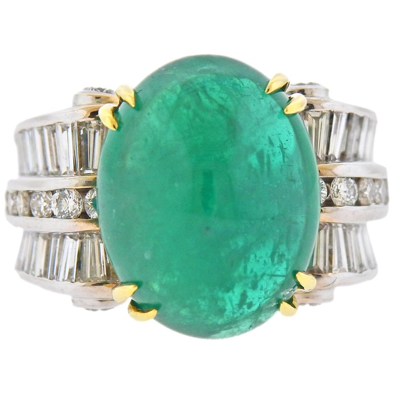 Charles Krypell 20 Carat Emerald Diamond Gold Ring For Sale