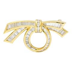 Charles Krypell 4.45 Carats Diamond 18 Karat Gold Vintage Bow Brooch
