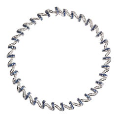 """Charles Krypell """"Apple Peel"""" Sapphire and Diamond Necklace in Platinum"""