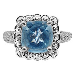 Charles Krypell Aquamarine and Diamond Halo Ring 18 Karat 4.05 Carat