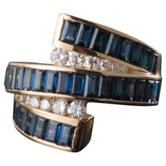 Charles Krypell Baguette Sapphire and Round Diamond Triple Wrap Ring