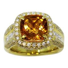 Charles Krypell Cushion Checkerboard Citrine and Diamond Halo Ring 18 Karat Gold