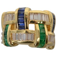 Charles Krypell Diamond, Emerald and Sapphire Band Ring