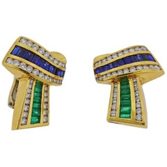 Charles Krypell Diamond Emerald Sapphire Gold Earrings