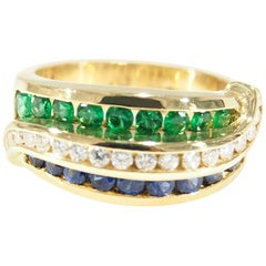 Charles Krypell Diamond Emerald Sapphire Ring Yellow Gold 18 Karat