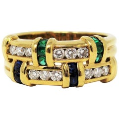 Charles Krypell Diamond, Sapphire and Emerald Double Row Band Ring in Gold