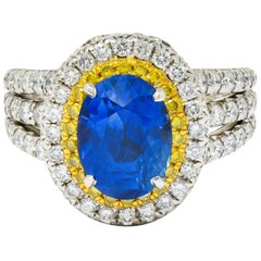 Charles Krypell No Heat Ceylon Sapphire White Fancy Yellow Diamond Platinum Ring