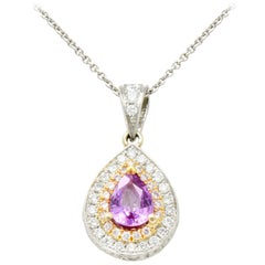 Charles Krypell Pink Sapphire Pink and White Diamond 18 Karat Gold Pear Pendant