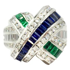 Charles Krypell Platinum Sapphire, Emerald and Diamond X Ring