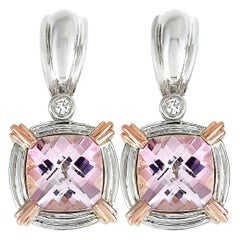 Charles Krypell Rose Gold and Silver Diamond and Pink Gemstone Earrings