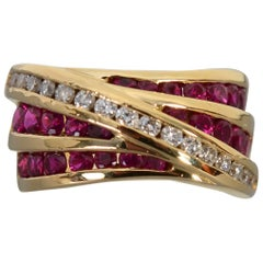 Charles Krypell Ruby and Diamond Gold Ring