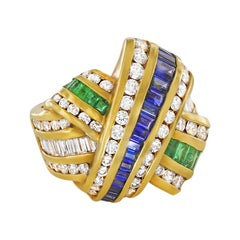 Charles Krypell Sapphire, Diamond, and Emerald Cross-Over Ring