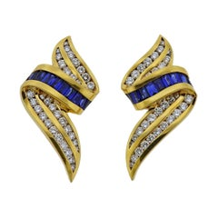 Charles Krypell Sapphire Diamond Gold Earrings