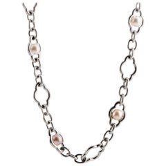 Charles Krypell Silver and Pearl Long Chain Necklace