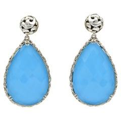 Charles Krypell Sterling Silver Blue Turquoise Large Drop Earrings