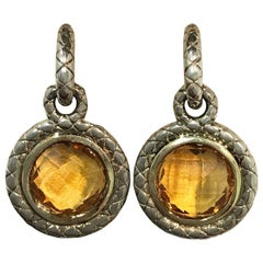 Charles Krypell Two-Tone Citrine Earrings, 11.96 Carat