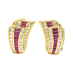 Charles Krypell Vintage 1.80 Carat Ruby Diamond 18 Karat Gold Earrings