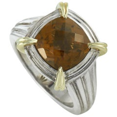 Charles Krypell White and Yellow Gold Silver Smoky Quartz Ring