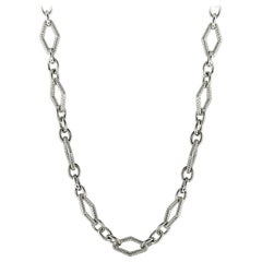 Charles Krypell White Gold and Silver Diamond Chain Necklace