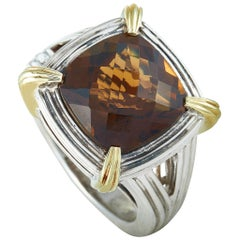 Charles Krypell Yellow Gold and Silver Smoky Quartz Ring