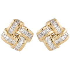 Charles Krypell Yellow Gold Diamond Earrings