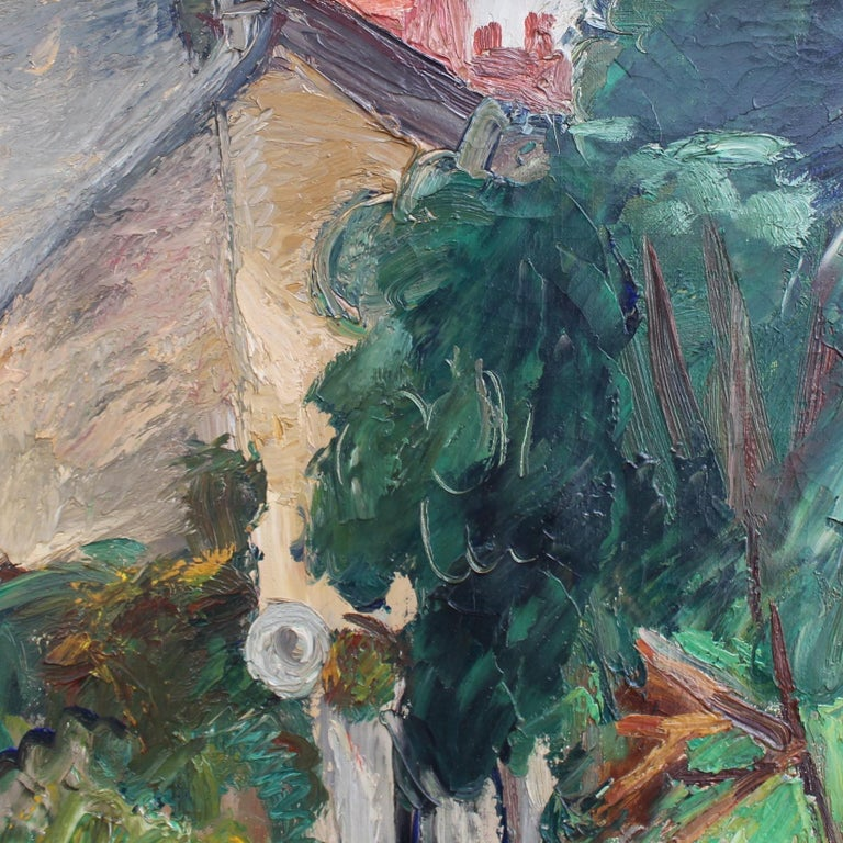 'Le Jardin' ('The Garden'), oil on canvas, by Charles Kvapil (circa 1930s). This luscious oil painting depicts the serene garden of the artist's own residence in Villiers-sur-Morin, outside of Paris. The delicately painted figure, perhaps his wife,