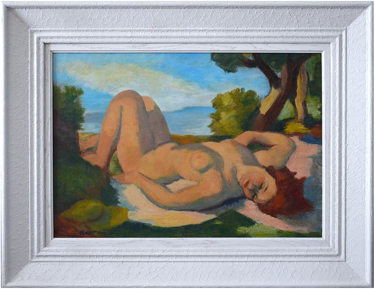 """Charles Kvapil Figurative Painting - """"Naked woman in the sun"""""""