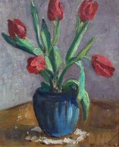 Vase with Bouquet of Red Tulips