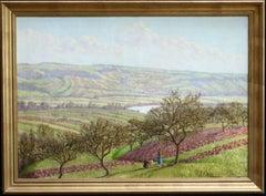 Cueillette de Pommes - 19th Century Oil, Figures in Orchard Landscape by Lacoste