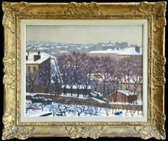La Neige - 19th Century Oil, Snow on Houses Winter Landscape by Charles Lacoste