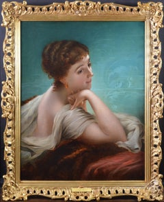 Daydreams - Large 19th Century Oil Painting Portrait of Society Beauty