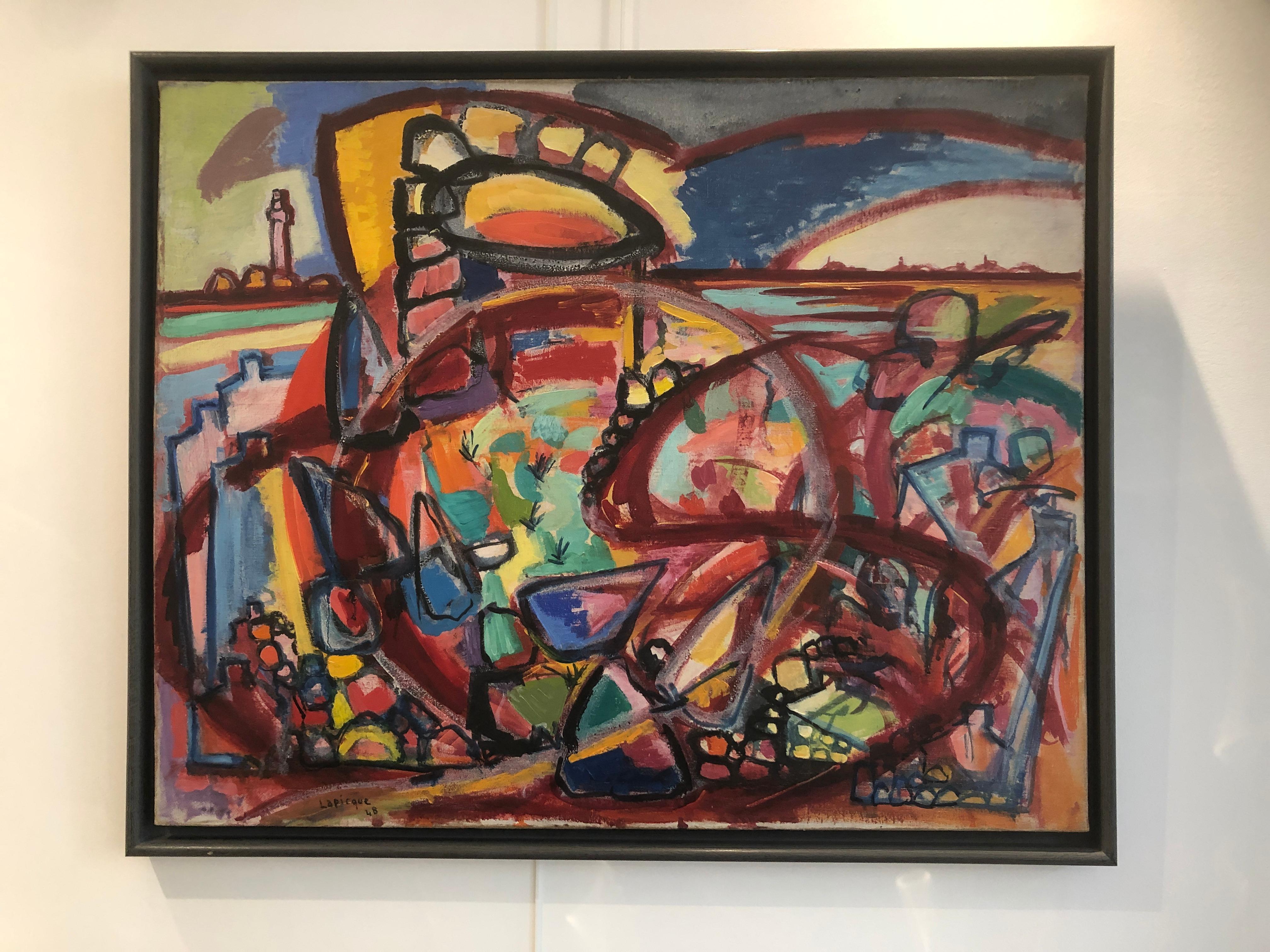 "« L'Orage sur Lanmodez »  ""The Storm on Lanmodez"" Oil on Canvas, 1948, Signed"