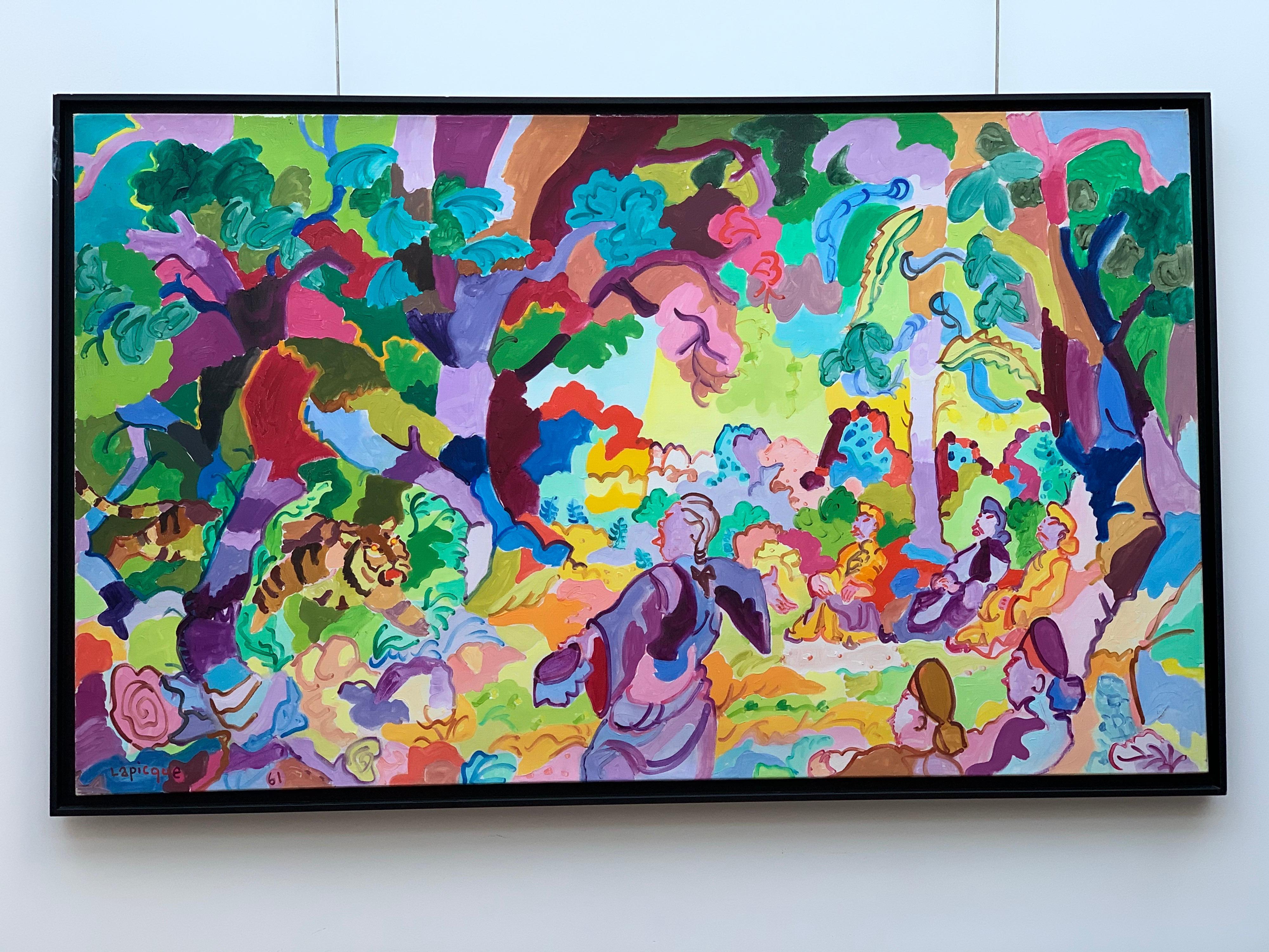 """French Artist, LAPICQUE Tiger The """"Invitation to Wisdom, oil in Canvas, 1961"""
