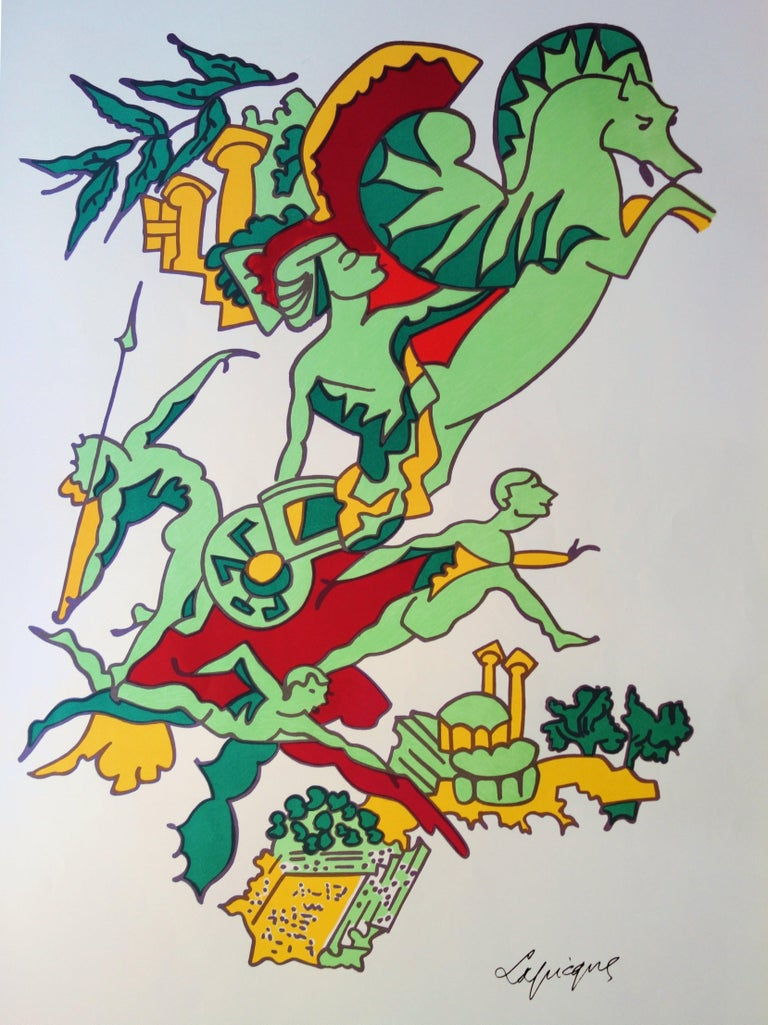 Faster, Higher, Stronger - Lithograph (Olympic Games Munich 1972) - Surrealist Print by Charles Lapicque