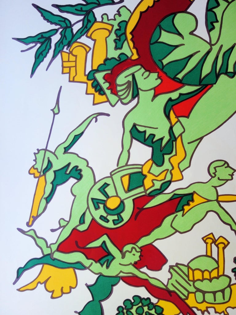 Faster, Higher, Stronger - Lithograph (Olympic Games Munich 1972) - Gray Figurative Print by Charles Lapicque