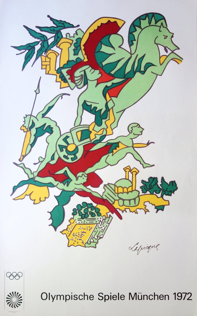 Charles Lapicque Figurative Print - Faster, Higher, Stronger - Lithograph (Olympic Games Munich 1972)