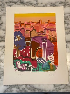 French Artist Original Hand Signed Lithographyt, The Forum Fall Limited Edition