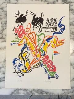 French Artist Original Hand Signed Lithographyt, The Horse Fall Limited Edition