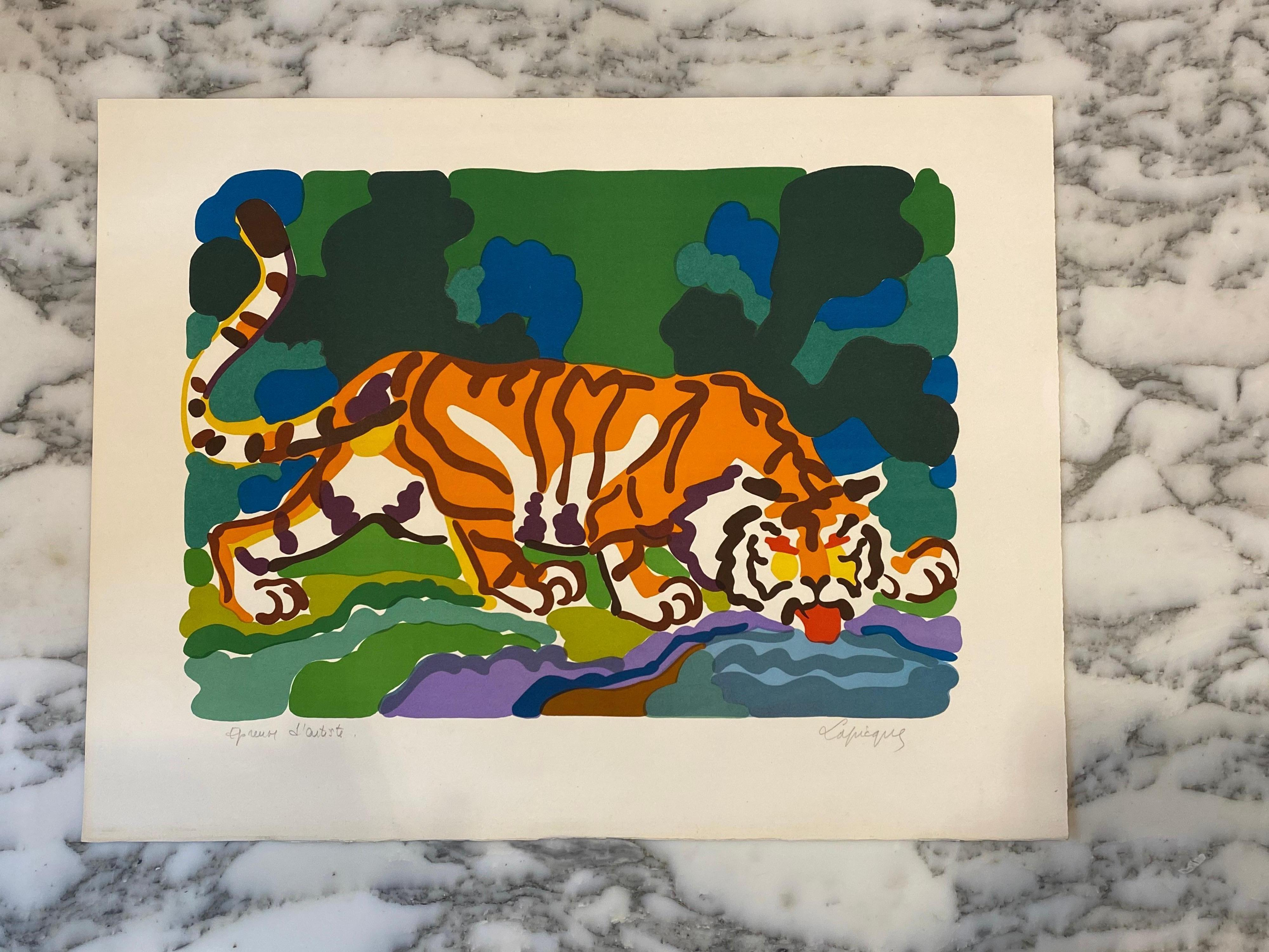 French Artist Original Lithography Tiger Drinking, Artist Proof, Signed, 1961