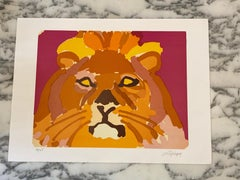 "French Artist Original Lithography Lion Head, HC ""Non Trade"" Hand Signed, 1984"