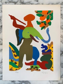 "French Artist Original Lithography Signed ""The Snark Hunt"" with certificate,1970"